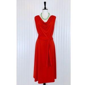 Orange Drape Neck Tie Waist Fit & Flare Dress, XL